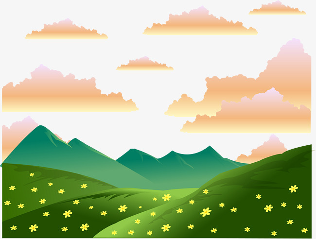 650x492 Cartoon Evening Mountain Landscape Vector, Cartoon Evening