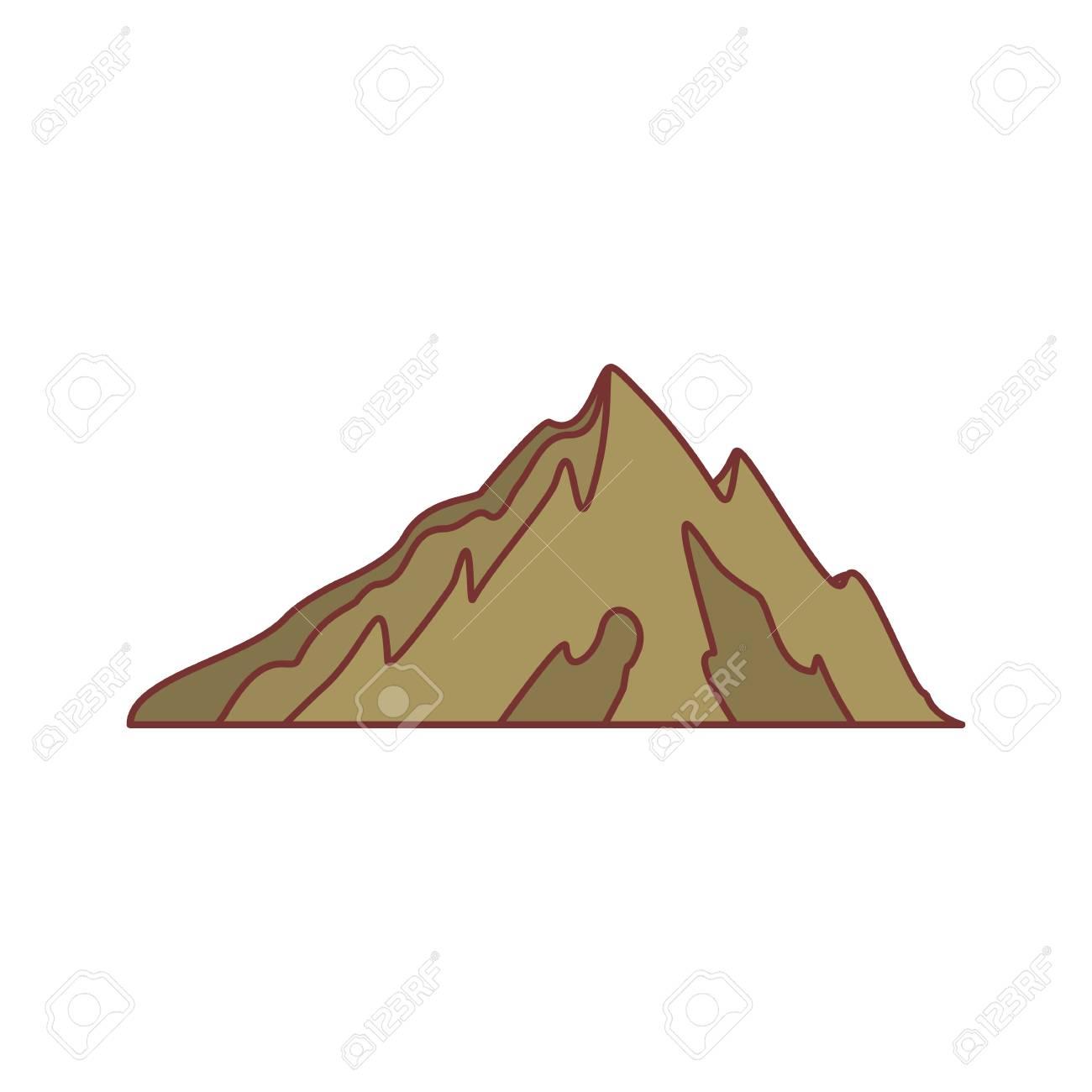 1300x1300 Brown Mountain Icon. Cartoon Illustration Of Mountain Vector