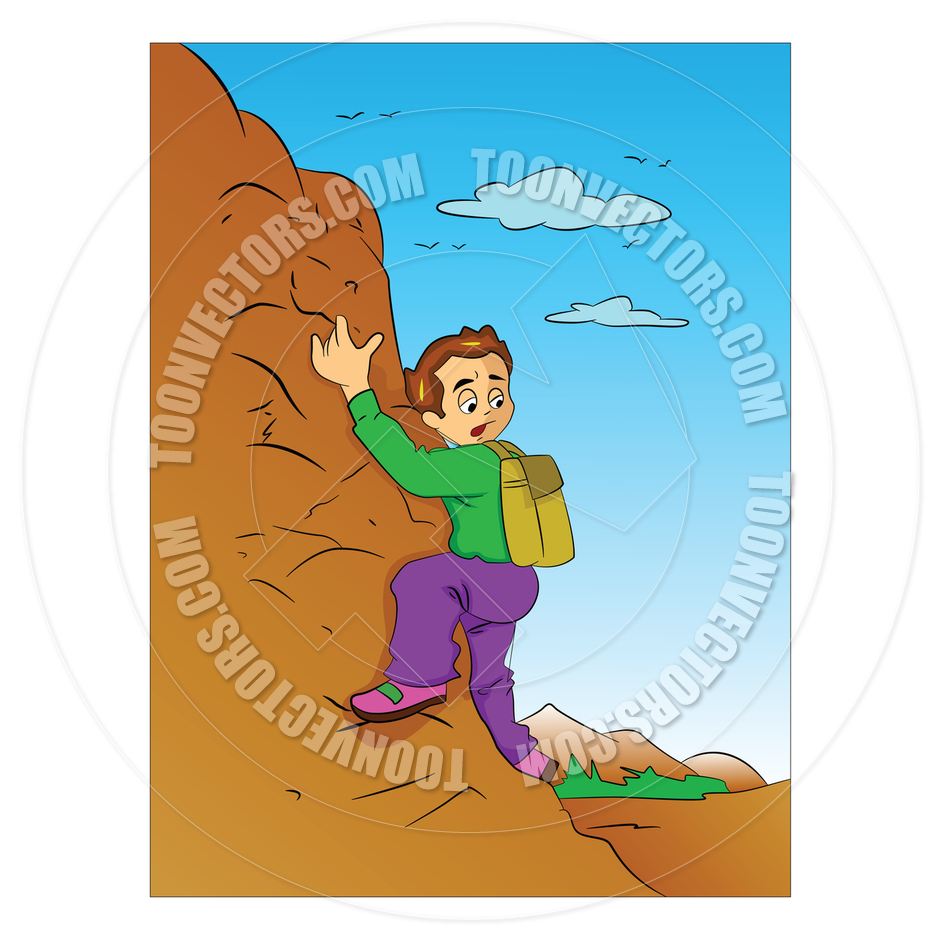 940x940 Cartoon Boy Climbing A Mountain By Morphart Toon Vectors Eps