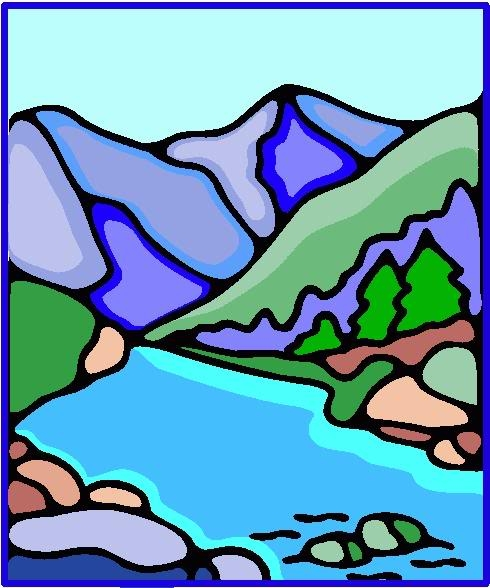 490x588 River Clipart Mountain River