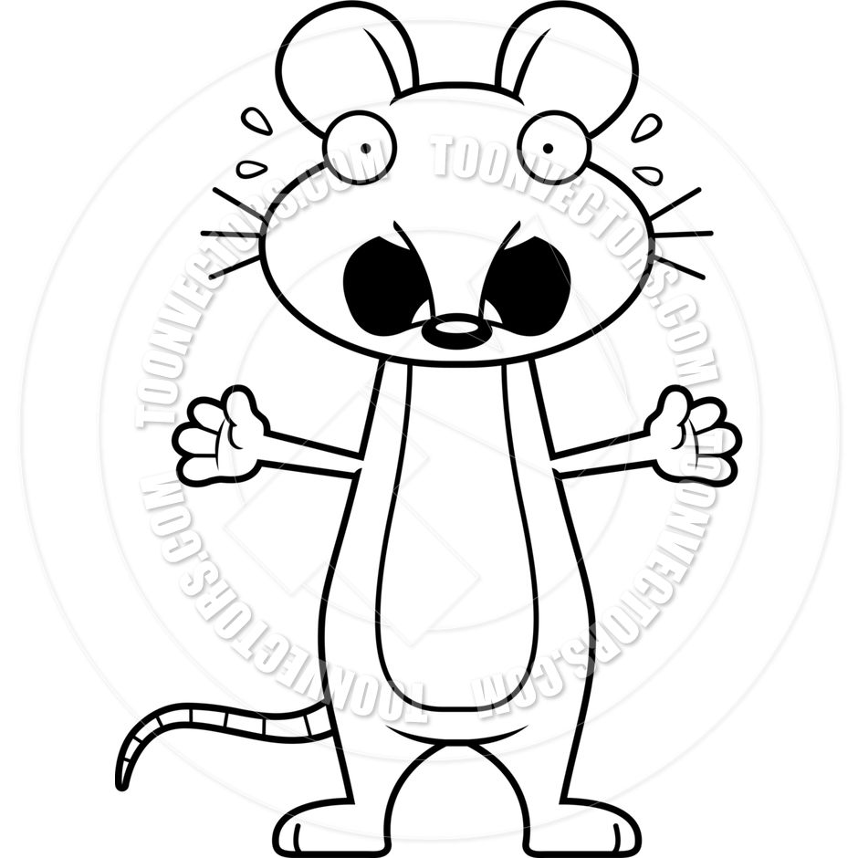 940x940 Cartoon Mouse Scared (Black And White Line Art) By Cory Thoman
