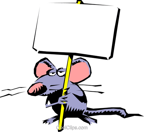 480x439 Cartoon Mouse With Placard Royalty Free Vector Clip Art