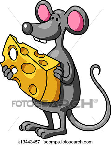 359x470 Clip Art Of Funny Cartoon Mouse With Cheese K13443457
