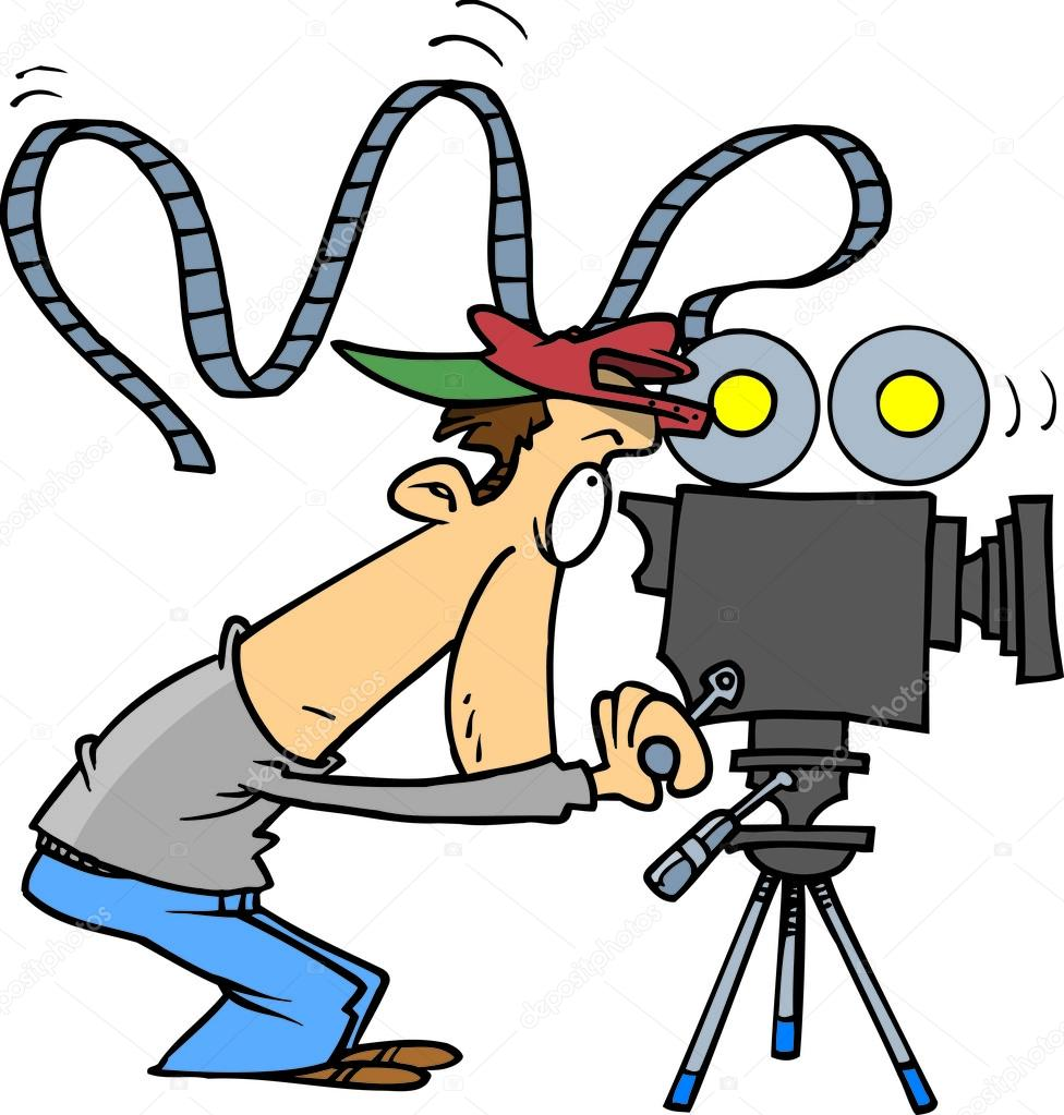 976x1023 Cartoon Movie Camera Operator Stock Vector Ronleishman