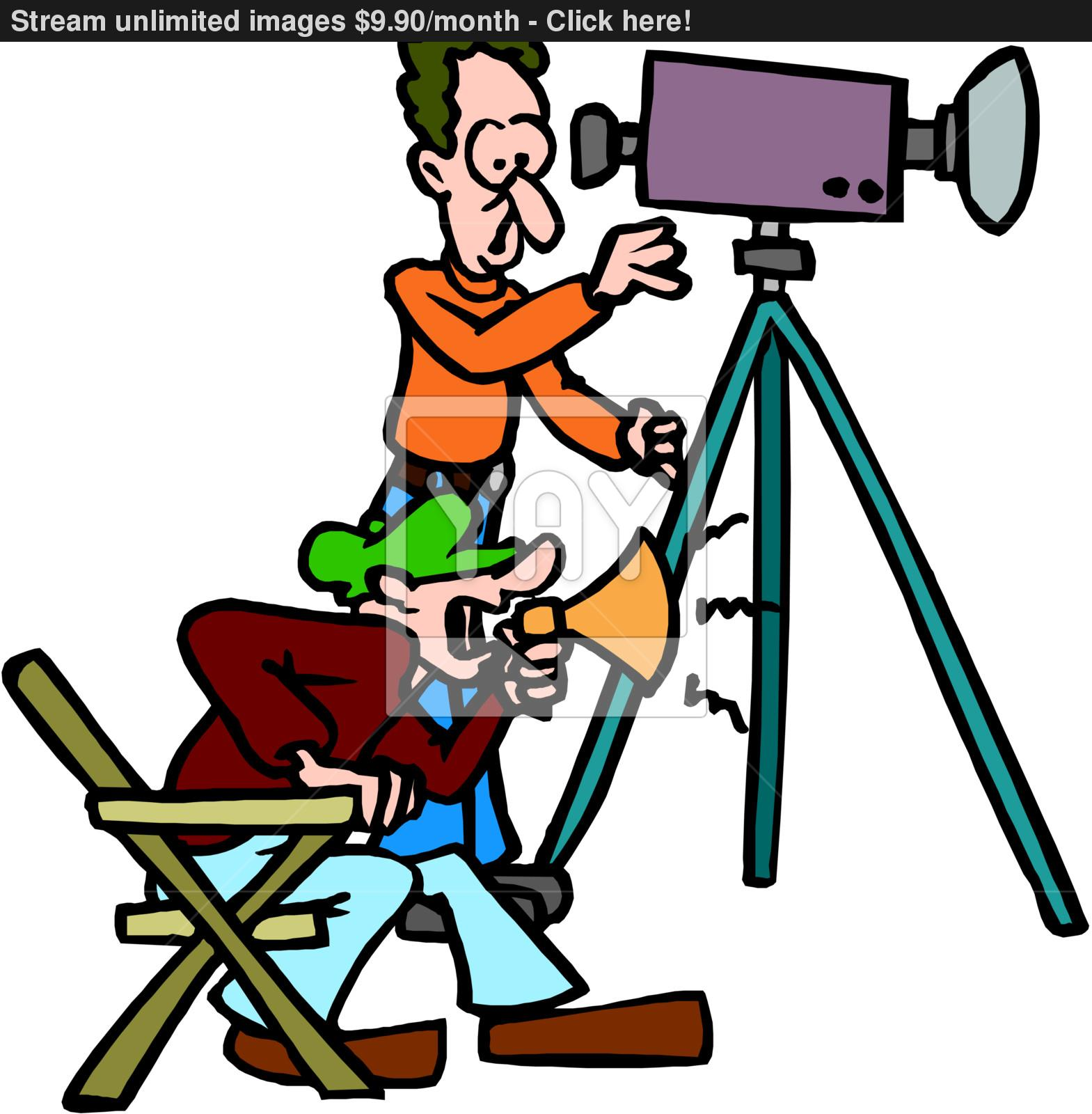 1569x1600 Cartoon Man With Movie Camera Vector