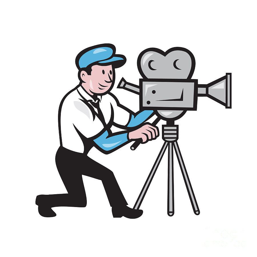 900x900 Cameraman Vintage Film Movie Camera Side Cartoon Digital Art By