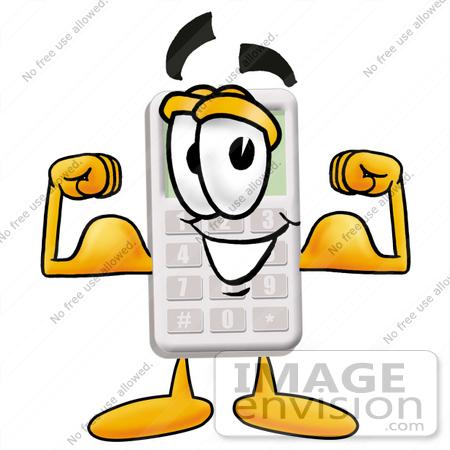 450x450 Clip Art Graphic Of A Calculator Cartoon Character Flexing His Arm