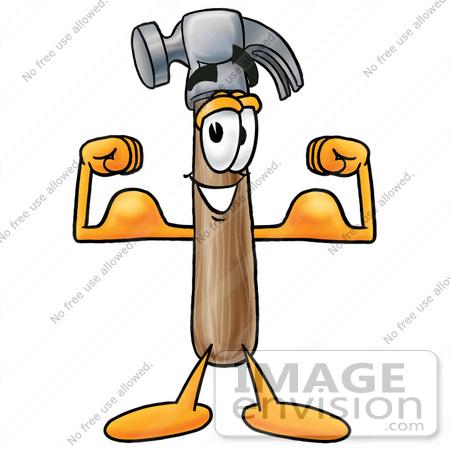450x450 Clip Art Graphic Of A Hammer Tool Cartoon Character Flexing His