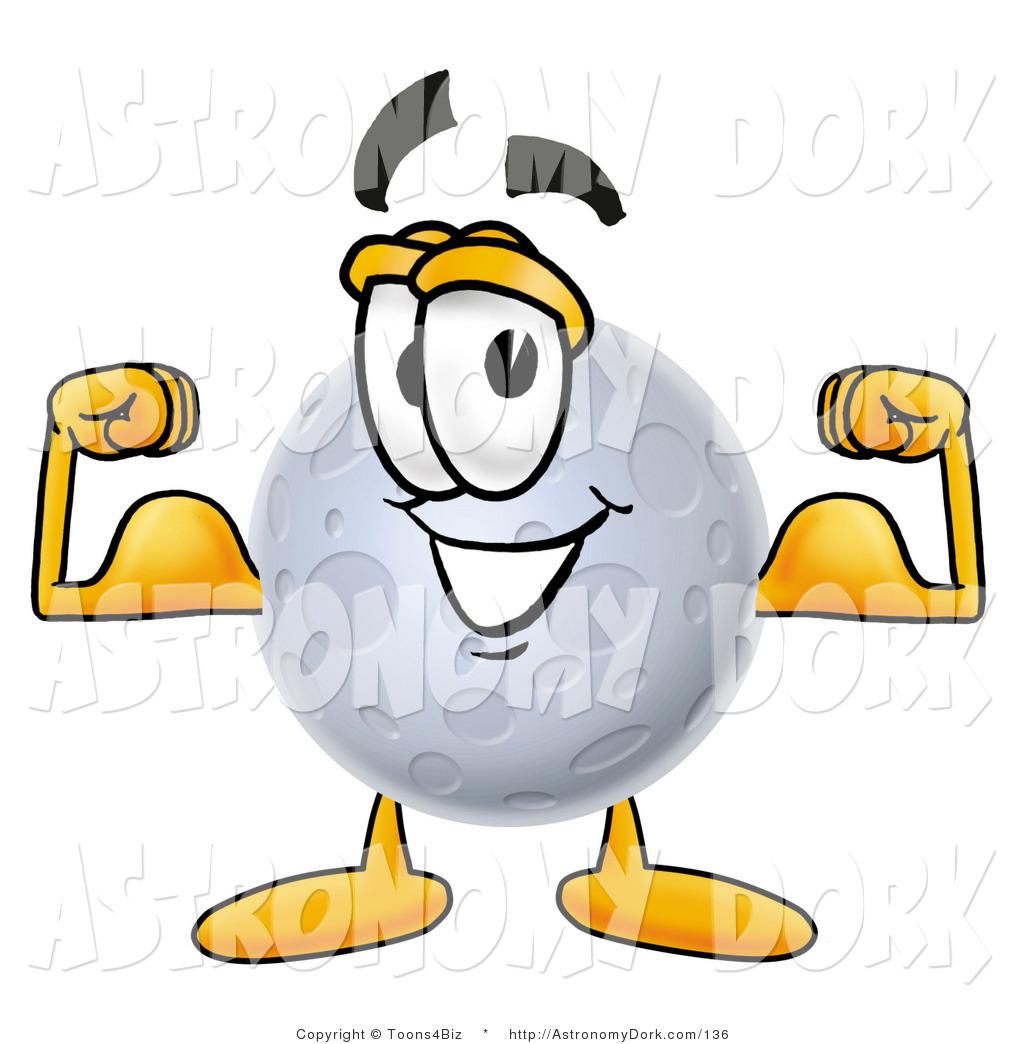 1024x1044 Clip Art Of A Full Moon Mascot Cartoon Character Flexing His Arm