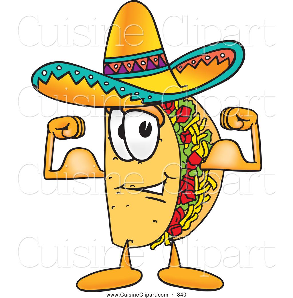 1024x1044 Cuisine Clipart Of A Happy Taco Mascot Cartoon Character Flexing