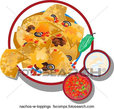 450x431 Stock Illustration Of Nachos W Toppings Nachos W Toppings