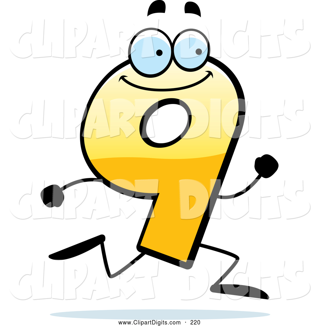1024x1044 Vector Cartoon Clip Art Of A Running Yellow Number 9 By Cory