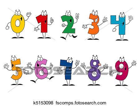 450x342 Clip Art Of Friendly Cartoon Numbers Set K5153098