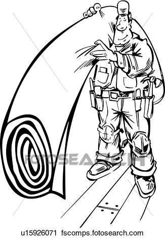 326x470 Clipart Of , Carpet, Occupations, Trades, Sign Elements, People