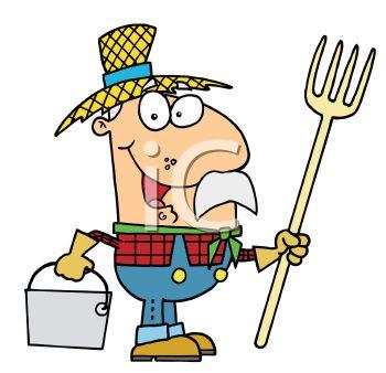 350x338 Occupation Cartoon Of A Farmer Holding A Pitchfork