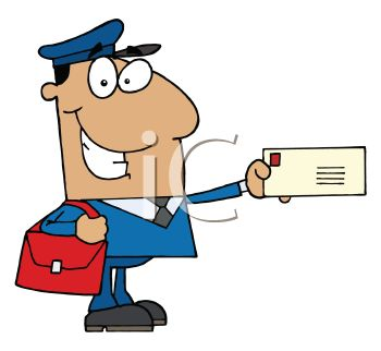 350x322 Occupation Cartoon Of A Mailman Holding A Letter