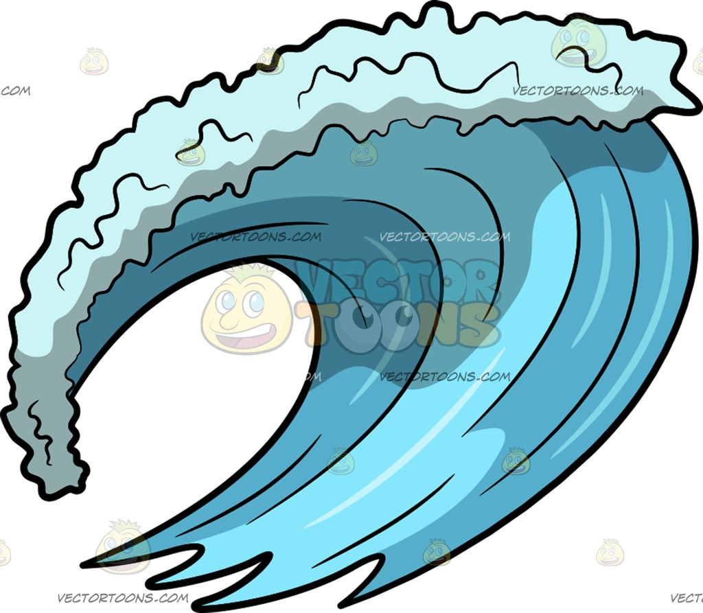 1024x893 A Big Surf Ocean Wave Cartoon Clipart