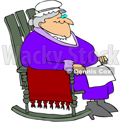 400x400 Free (Rf) Clipart Illustration Of Relaxed Old Woman Sitting In