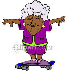 278x300 Old Black Woman Skateboarding