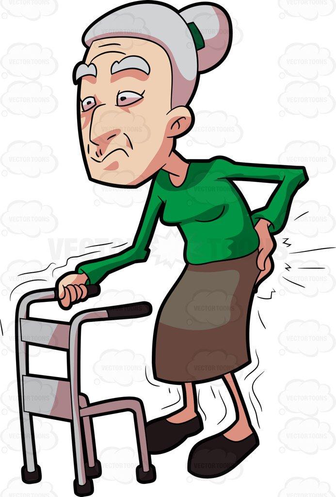 693x1024 A Grandma Having Backaches While Walking Cartoon Clipart