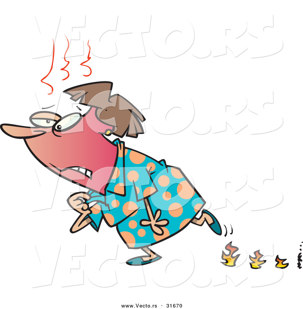 1024x1044 Vector Of Old Cartoon Woman Having Hot Flashes While Leaving