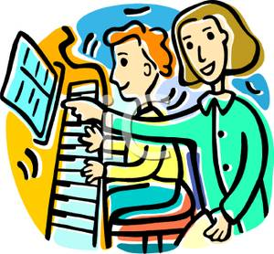 300x278 Colorful Vintage Style Cartoon Of A Student Studying Piano Lessons
