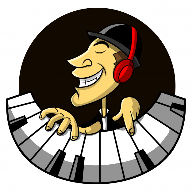 626x626 The Jazz Musicians Using Earphone And Playing Piano Cartoon Vector