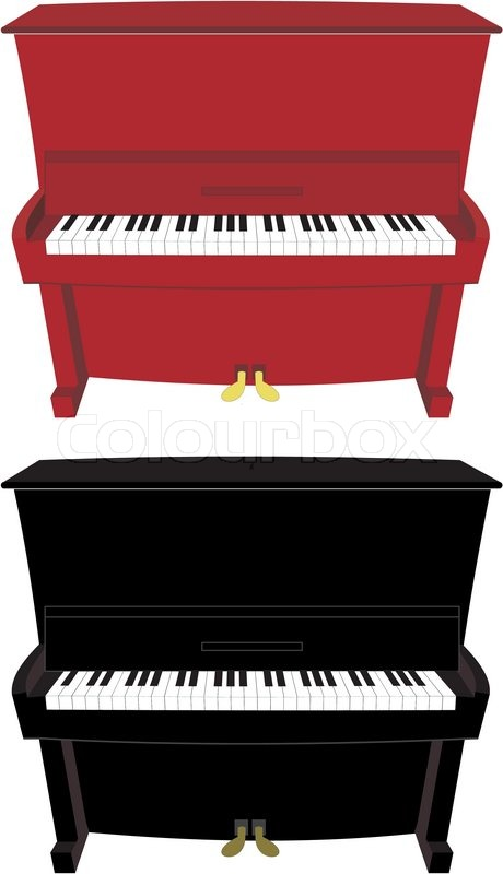 460x800 Vector Illustration Isolated Of Cartoon Piano Old, Classical