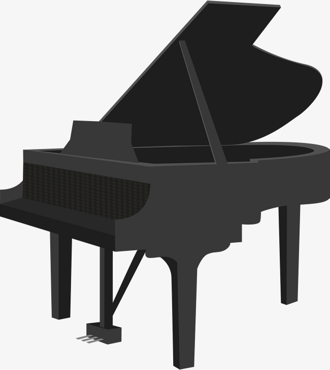 650x730 Flat Black Piano, Piano, Cartoon Piano, Musical Instruments Png