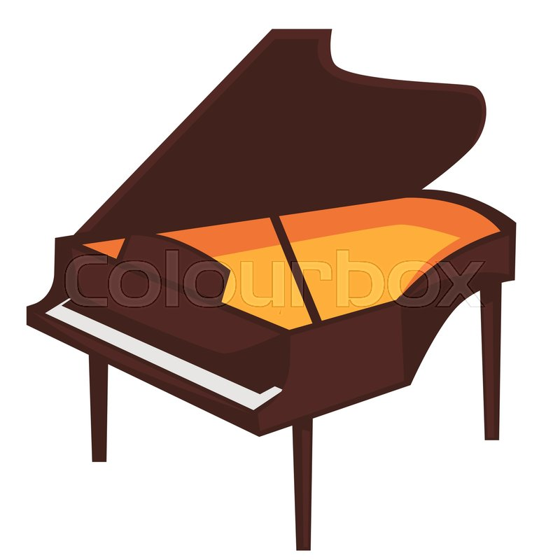 800x800 Big Brown Piano Of Classic Shape With Open Top And Bright Orange