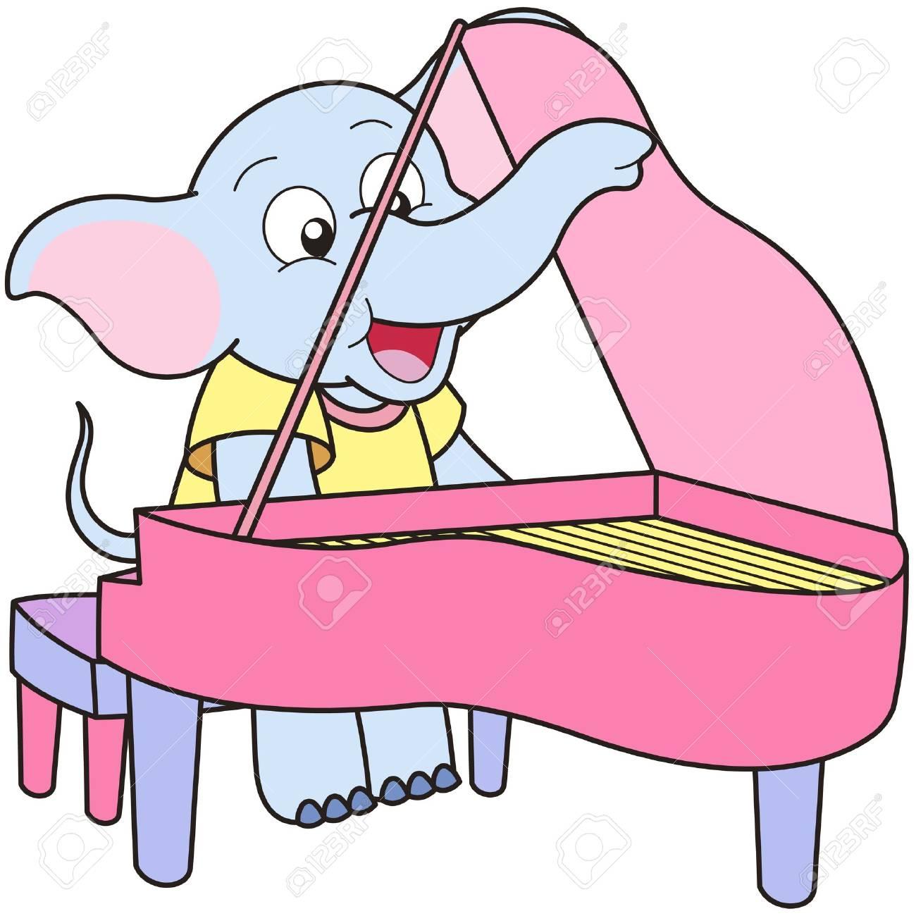 1300x1300 Cartoon Elephant Playing A Piano. Royalty Free Cliparts, Vectors