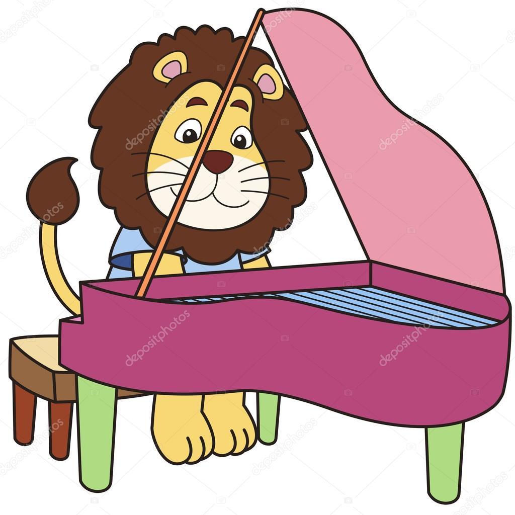 1024x1024 Cartoon Lion Playing A Piano Stock Vector Kchungtw