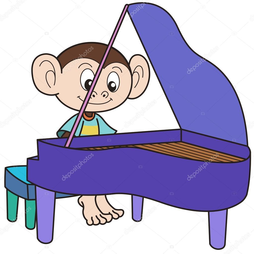 1024x1024 Cartoon Monkey Playing A Piano Stock Vector Kchungtw