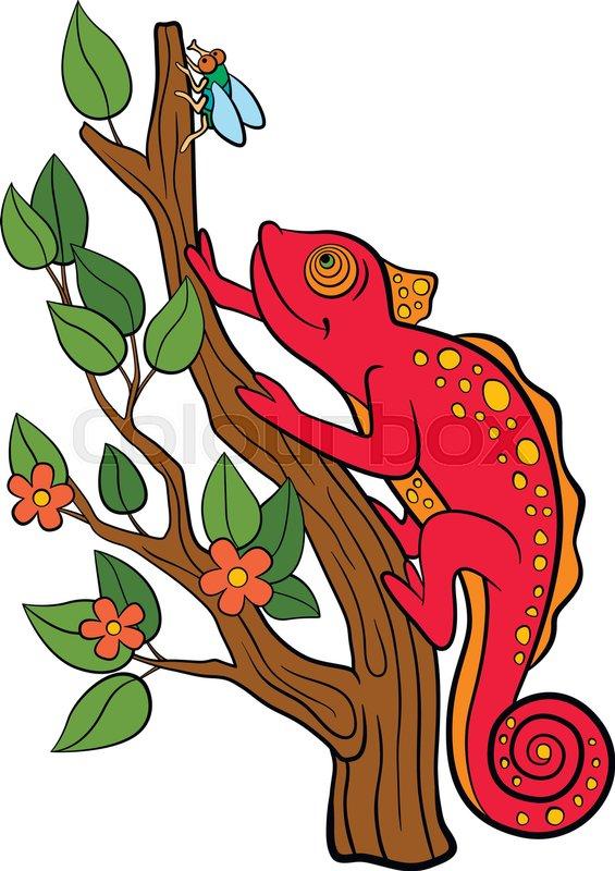 565x800 Cartoon Animals For Kids. Little Cute Red Chameleon Smiles