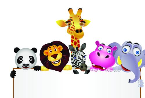 500x338 Cute Cartoon Animals And Billboard Vector 01