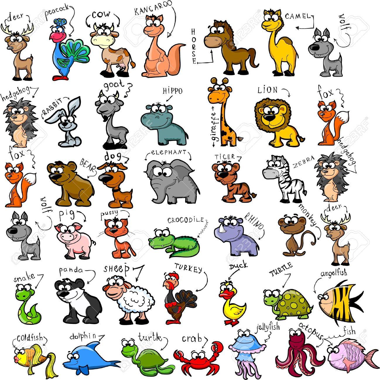 1298x1300 Big Set Of Cartoon Animals Royalty Free Cliparts, Vectors,