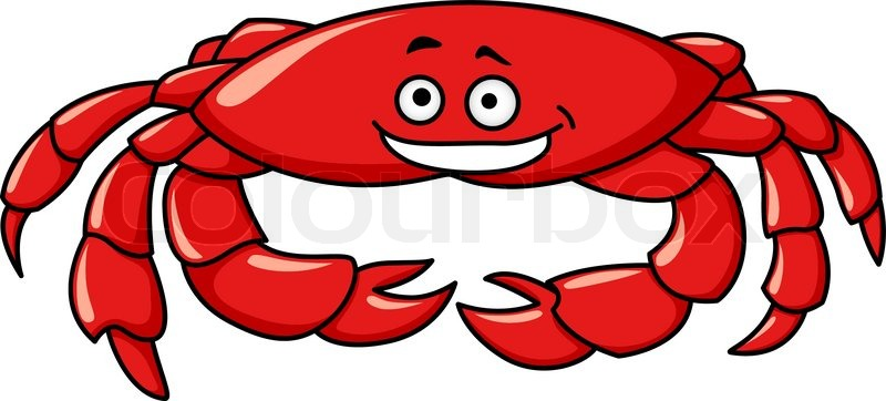 800x362 Colorful Red Marine Cartoon Crab With A Smiling Face And Big Claws