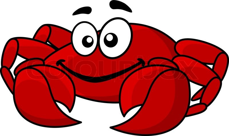 800x476 Fun Smiling Red Cartoon Marine Crab With Big Front Claws
