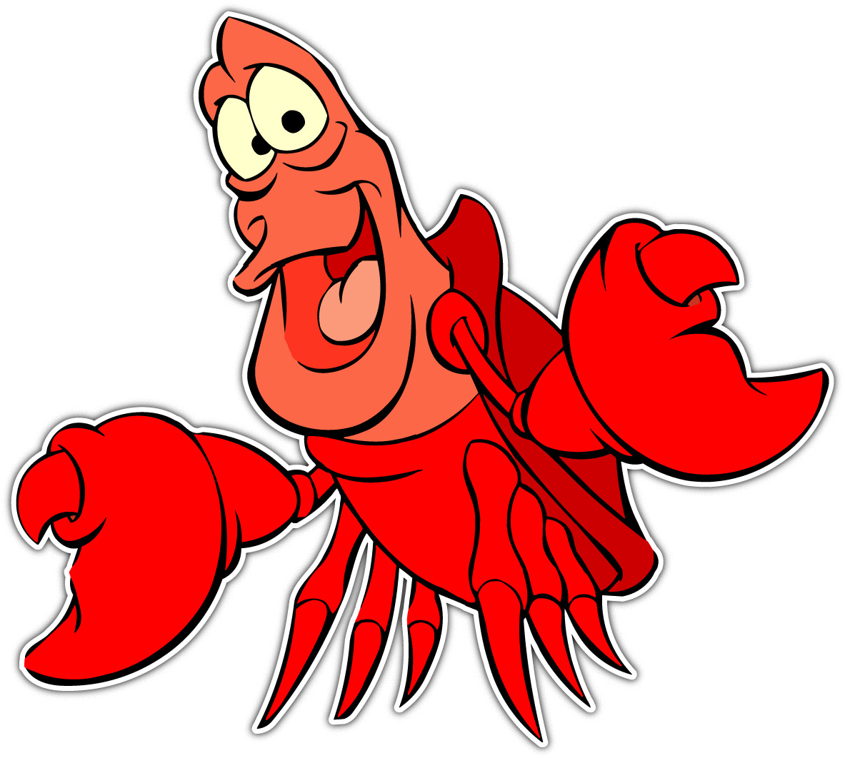 1183x1062 Sebastian Crab Little Mermaid Cartoon Car Bumper Vinyl Sticker