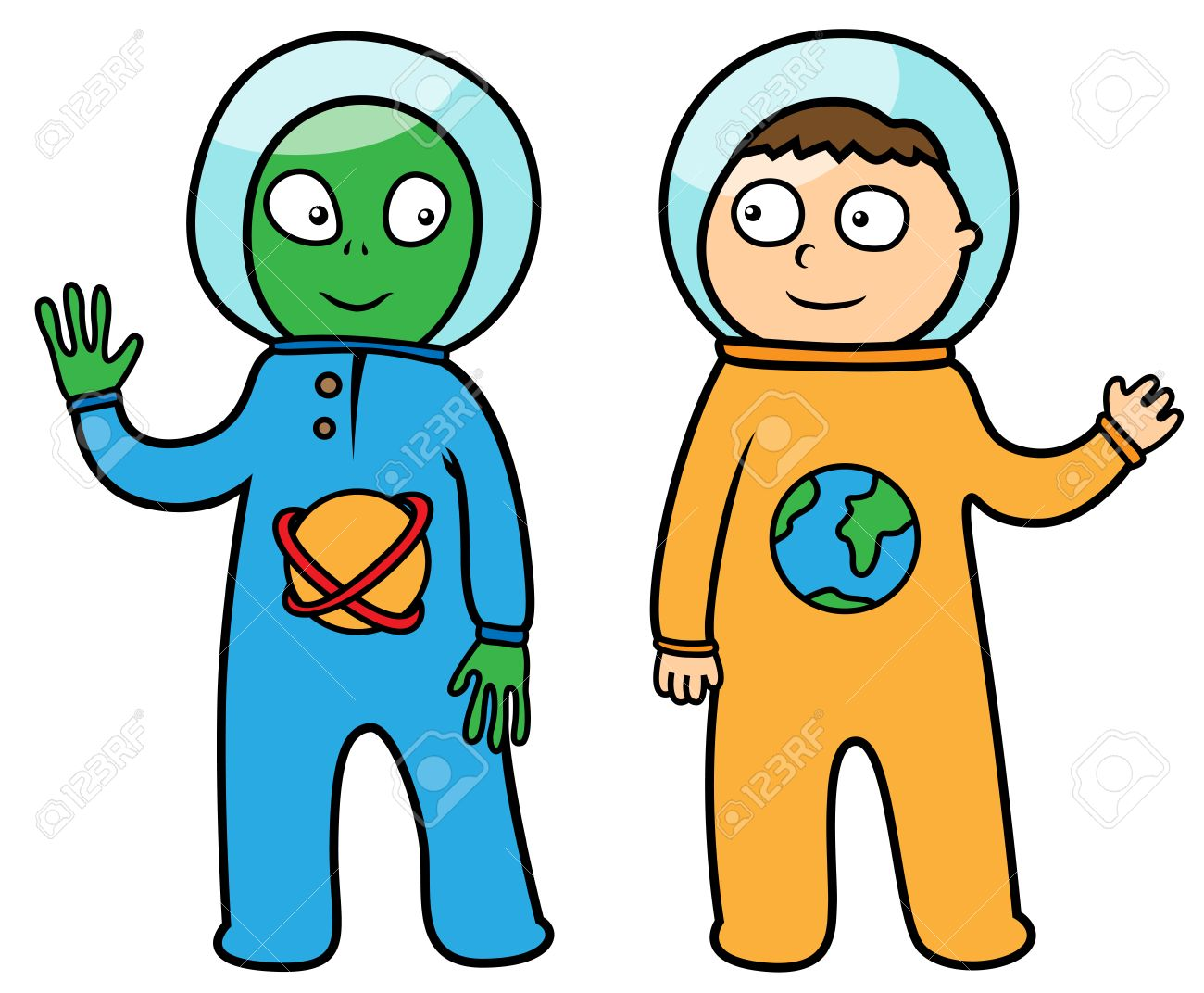 1300x1072 Aliens And Spaceman Cartoon Vector Illustrations Collection Team