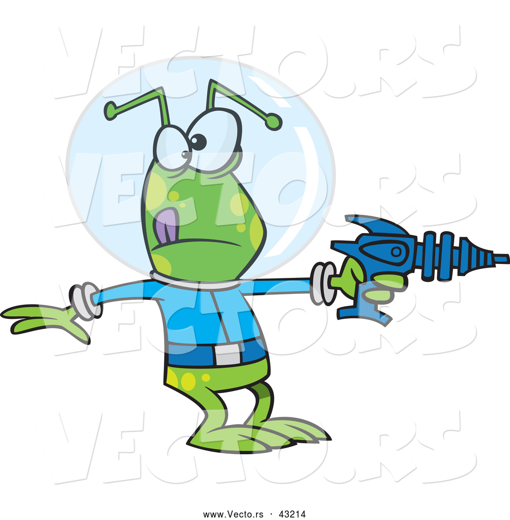 1024x1044 Vector Of A Green Cartoon Alien Pointing A Ray Gun By Toonaday