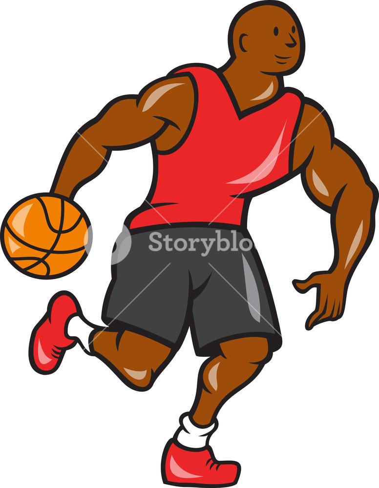 776x1000 Basketball Player Dribbling Ball Cartoon Royalty Free Stock Image