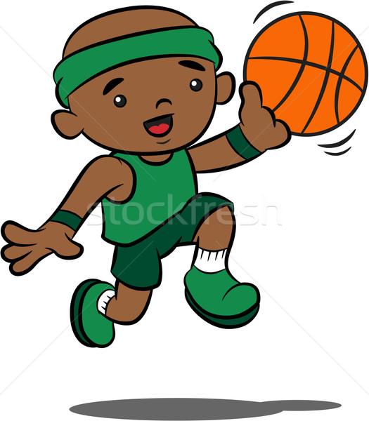 525x600 Cute Cartoon Boy Playing Basketball Vector Illustration Joennie