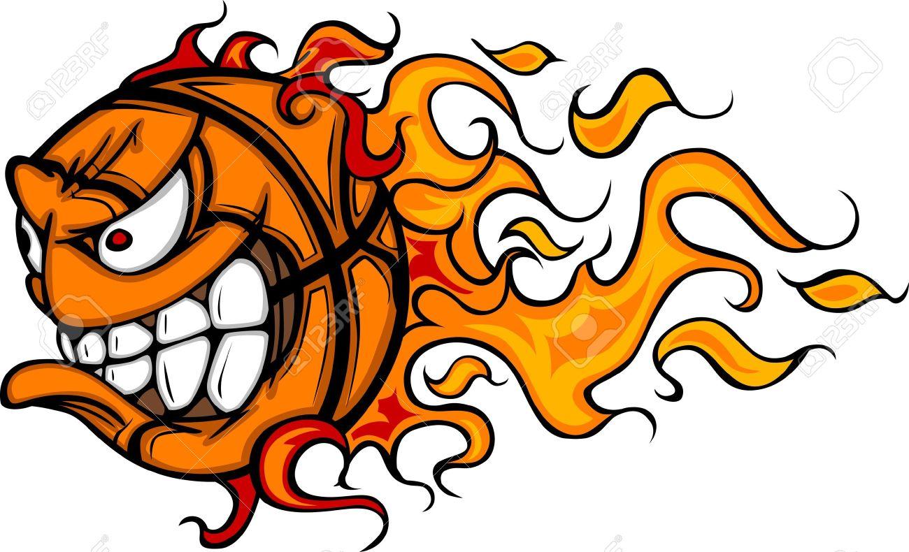 1300x790 Flaming Basketball Face Cartoon Royalty Free Cliparts, Vectors