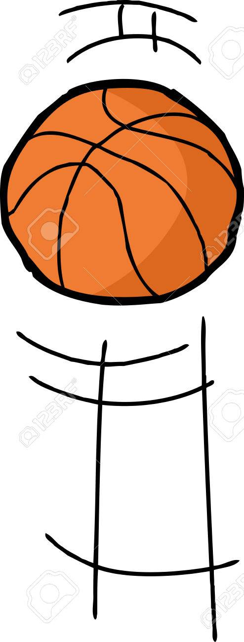 494x1300 Hand Drawn Cartoon Basketball Bouncing Over White Background