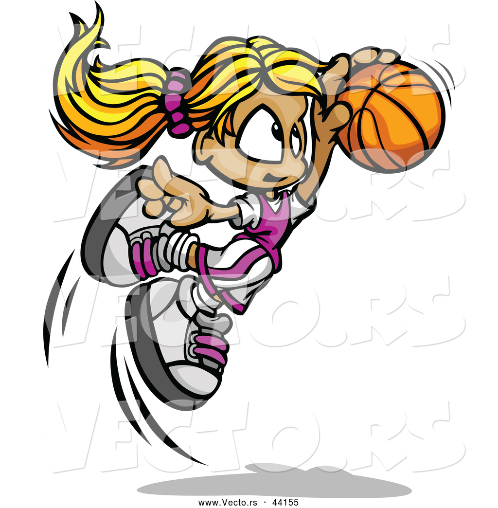 1024x1044 Vector Of A Jumpling Cartoon Basketball Girl Player With The Ball