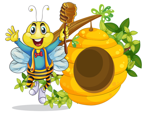 500x394 Cartoon Bee And Beehive Vector Material 04