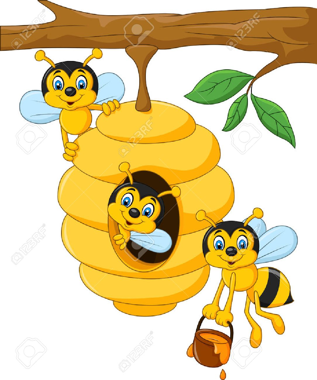 1084x1300 Vector Illustration Of Cartoon Branch Of A Tree With A Beehive