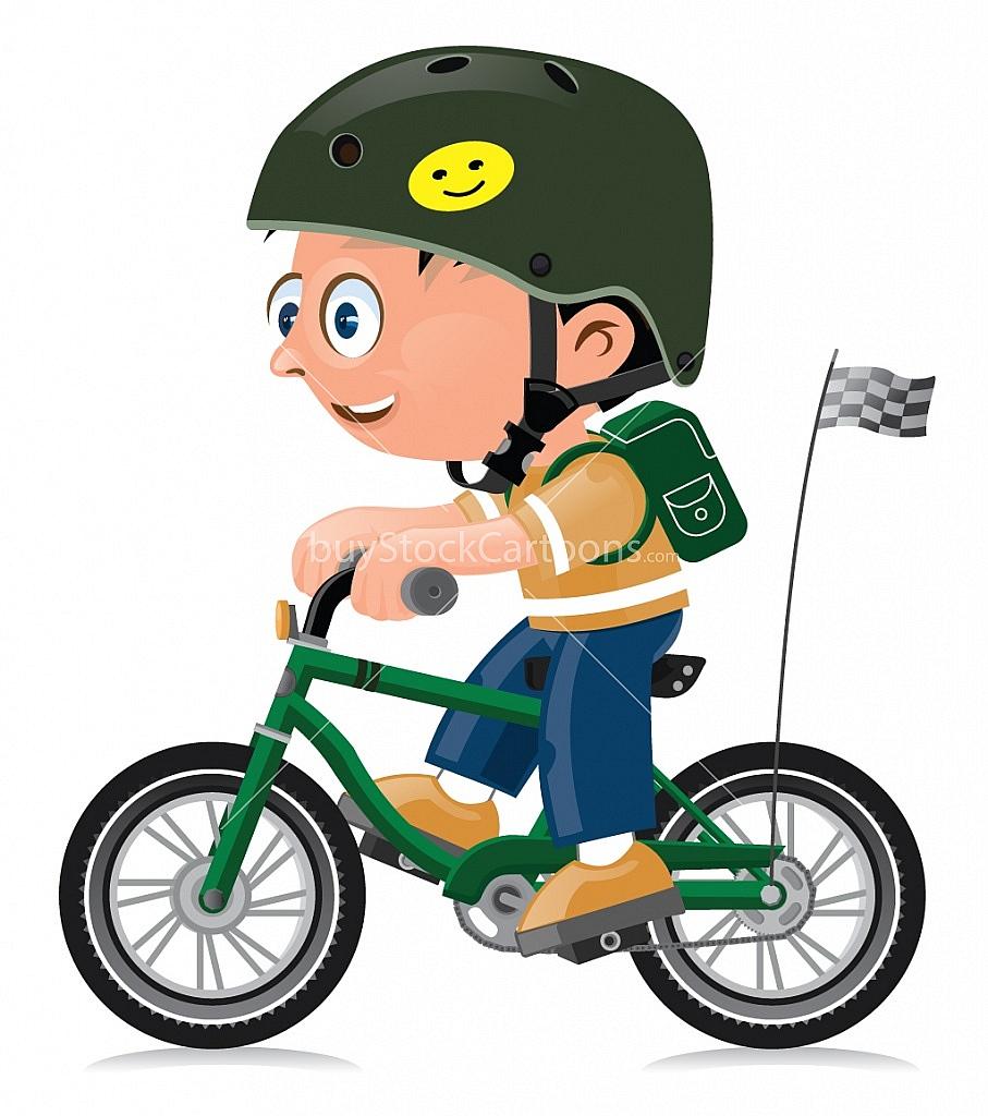 907x1024 Boy On A Bicycle Cartoon Buy Stock Cartoons Royalty Free Stock