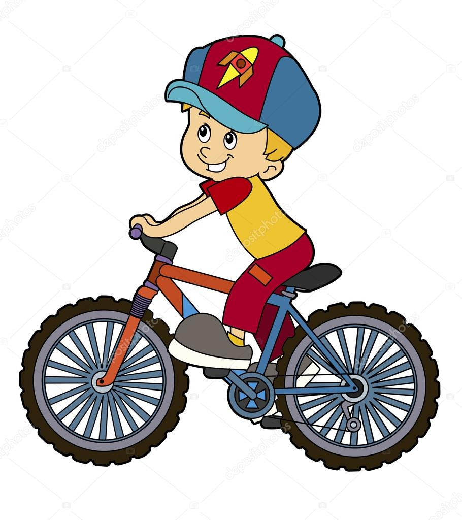 910x1024 Cartoon Kid Riding Bicycle Stock Photo Illustrator Hft